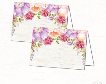 Purple Flower Food Tent Labels. Lavender Baby Shower Place Cards. Floral Baby  Shower.