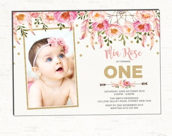 Floral First Birthday Invitation. Pink and Gold Party Invite. Bohemian Flowers. Boho Birthday. Girly Feathers. Glitter. Flowers. FLO12A