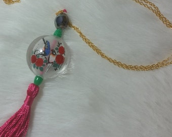 18K Gold Necklace with Chinese inter glass painting & tassel