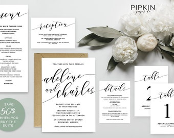 Printable Wedding Invitation Set | Printable Wedding Stationery | Wedding Program | Digital Download for Word | Floral Wreath Invitation