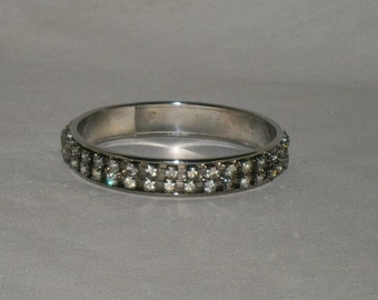 Silver Tone Clear Rhinestone Bangle Bracelet