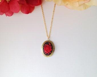 Rose Cameo Locket Necklace.
