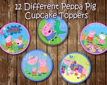 Peppa Pig Cupcake Toppers / Peppa Pig Stickers - Printable - Instant Download