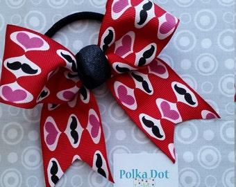 Valentine's Day Moustache Ponytail Bow