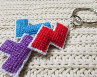 Cute cross stitched red, blue and purple TETRIS keychain, purse/zipper charm