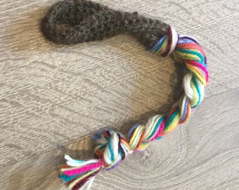 Handmade dog toy: for small dogs, puppies, lap dogs, and companion dogs. Tug of war doggy toy, crochet dog toy - 100% British yarn. Dog gift