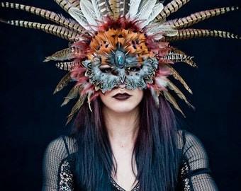 Flying Heads Tribal Feather Shaman Mask, Performance, Carnival, Masquarade, Theater, Costume, Halloween, Ceremony, Parade, Photoshooot