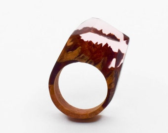 Wood and Resin Ring. Resin Wood Ring. One of a kind ring, Unique gift, Handmade Jewelry. Pink Ring. Gift for her. Statement Ring.