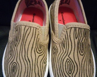 Wood Grain Toddler Hand Painted Canvas Slip-On Shoes Size 6c-8c