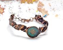 Copper jewelry Blue patina bracelet Adjustable bracelets gift Rustic style bracelet Copper patina gift for her Women bracelet Patina jewelry