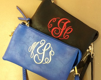 Monogrammed clutch / crossbody bag, Embroidery bags,
