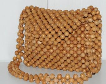 Vintage 1960's wooden beads shoulder bag