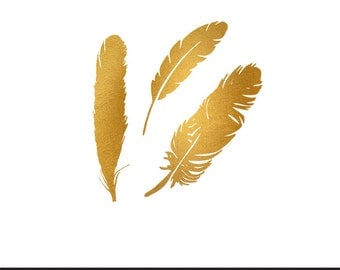 feathers gold foil clip art svg dxf file instant download silhouette cameo cricut digital scrapbooking commercial use
