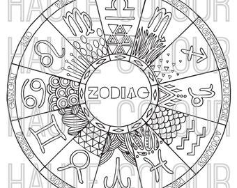 Zodiac Coloring Book- 13 Images- Digital Download