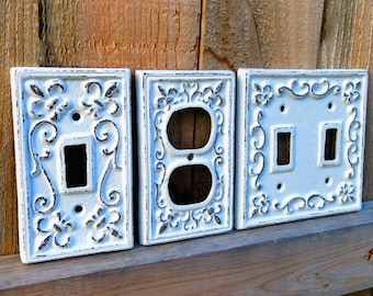 Light Switch Cover, Light Switch Plate, Cast Iron Switch Cover, White Switch Plate, Cast Iron Light Covers, Fleur De Lis Light Switch Cover