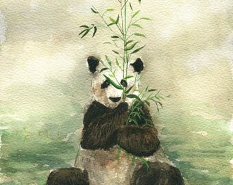 original watercolor painting- panda eat bamboo