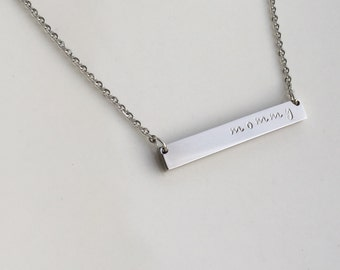 Personalized Bar Necklace - Bar Necklace - Silver Necklace - Personalized Necklace - Name Necklace - Name Bar - Bridesmaid Gift - Stainless