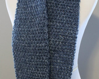Denim Blue Crochet Scarf,  Winter  Fashion, Teen Scarf, Neck warmer, Denim Scarf