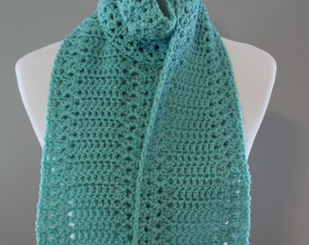 Crochet Stacked  Shells Scarf, Winter Scarf, Winter Fashion, Turquoise Scarf, Made In USA