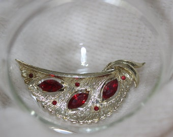 Vintage Brooch Pin with Red Stones