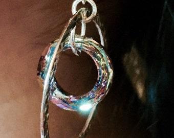 Sterling silver, Swarovski cosmic ring, dangle earring