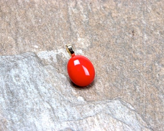 Deep Coral Round Fused Glass Pendant Necklace Gift for Her Pendant #6