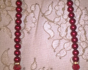 Red Vintage inspired pearl necklace