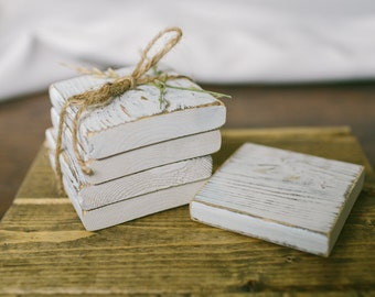 French Country White-washed Wood Coasters, Set of Four / Rustic white wooden coasters / Rustic wedding / Home decor / Decorative coasters