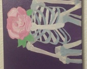 Skeleton Flower Painting