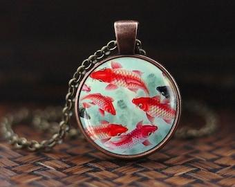 Koi Fish Necklace, Japanese Koi Fish, Japanese art Pendant, Koi Fish art, Asian Art Necklace, Fish Pendant