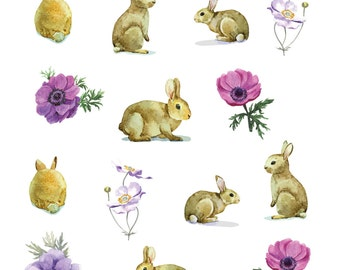 Bunny Rabbit Planner Diary Stickers Super Cute Flowers & Bunny