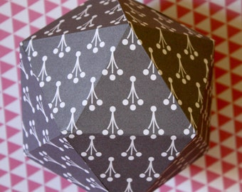 Geometric paper ball - White and grey dots