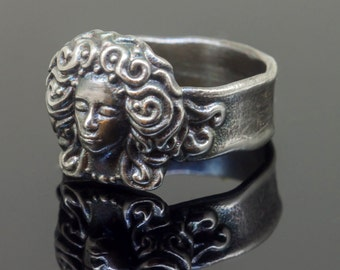 Silver ring, silver statement ring, silver ring women, silver ring with woman face, 3d printed ring, 3d printed jewelry, art nouveau jewelry