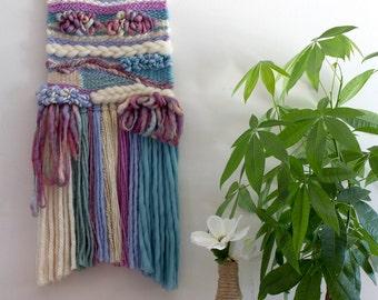 Wall Hanging Weaving // Whimsical art, pastels, fibre art, wall art