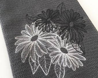 Dainty Daisies Embroidered in a Chalkboard Style onto a Gray 100% Cotton Huck Towel