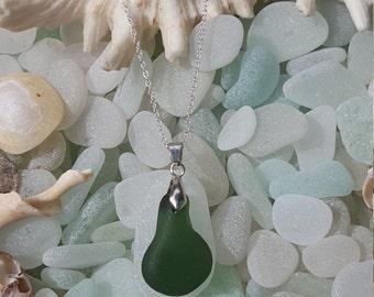 Seaglass Necklace Green Rain drop shape