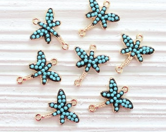 2pc mini butterfly charm, turquoise beads, earring beads, butterfly jewelry, bead charms, bracelet connector, butterfly connector, blue bead