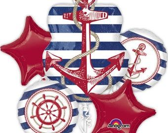 Anchors Aweigh New Arrival Five Piece Balloon Mylar Bouquet! Nautical, Birthday, Picnic, Parties, Decorations