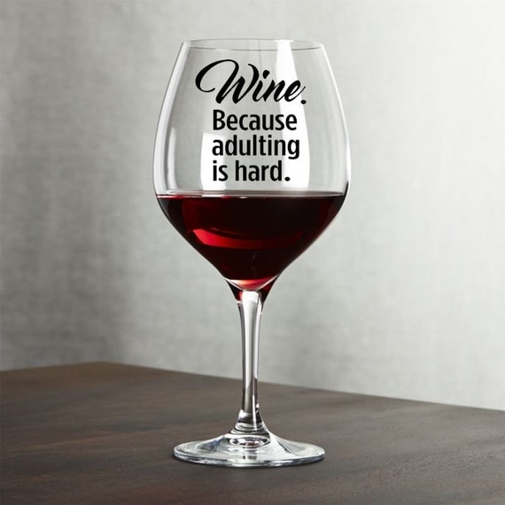 Decal For Wine Glass Funny Wine Glass Decal By Thewordzone