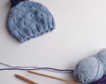 Wool baby hat,toddler hand-knitted pom pom hat,merino wooll light blue handknitted baby boy hat,knitted toddler boy wool hat,winter baby hat