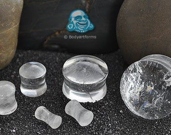 "Rock crystal plug 6g, 4g, 2g, 0g, 00g (9.5mm), 7/16"", 1/2"" (13mm), 9/16"", 5/8"", 3/4"", 7/8"", and 1"""