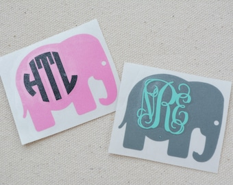 Elephant Decal, Elephant Monogram Decal, Elephant Sticker, Elephant Monogram Sticker, Car Decal, Car Sticker, Yeti Decal, Yeti Sticker