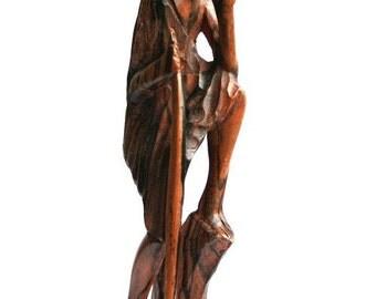 "Handmade African Sculpture-African Mask-Wooden Sculpture-Ebony Wood- Expectation: ID1100 - 15""H x 3""W."