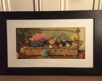Schmee's Completed Kittens Cross Stitch with frame