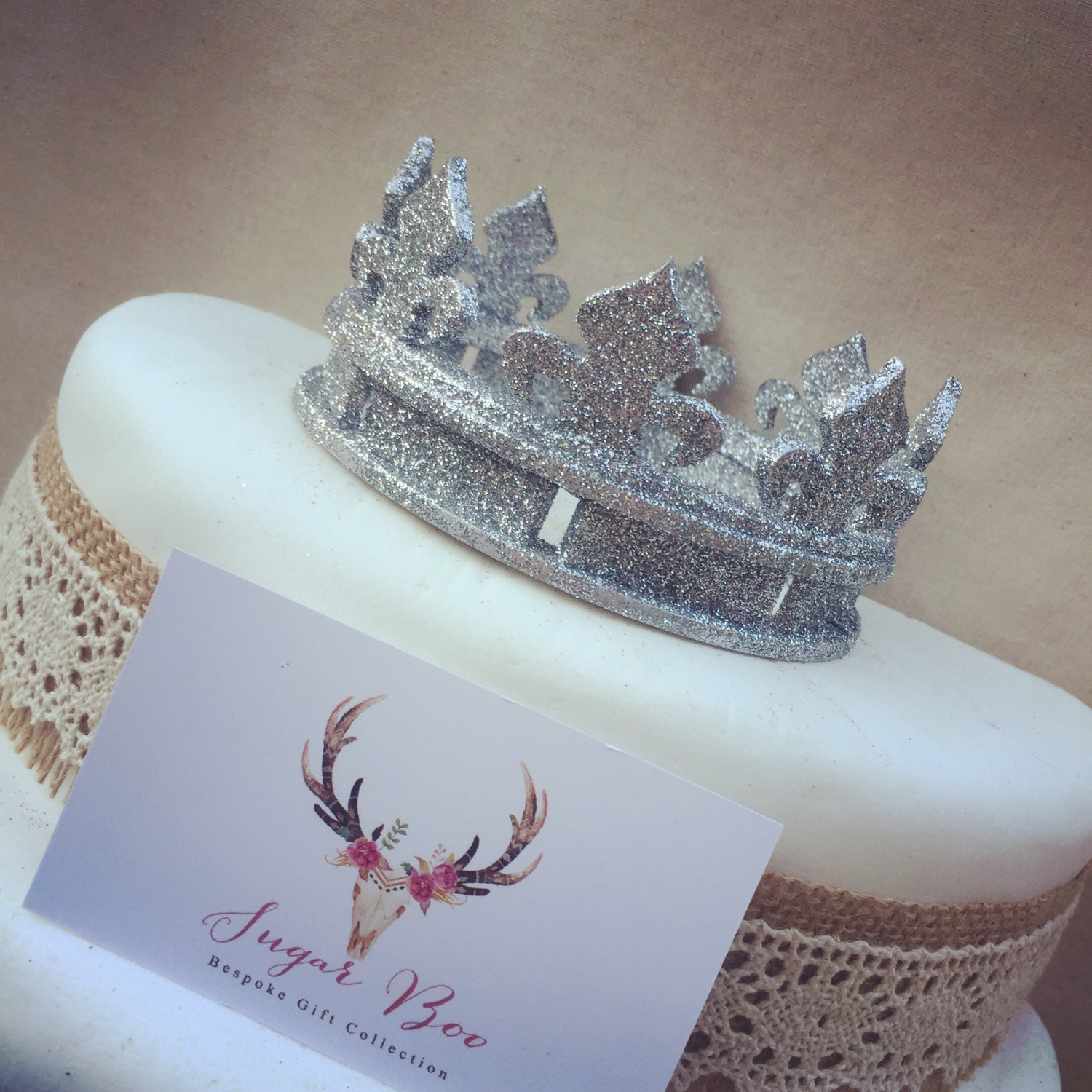 Glitter Crown Cake Topper Wedding Cake Top Prince Party Cake