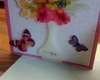 Floral/Butterfly Handmade Greetings Card - Blank for Any Occasion