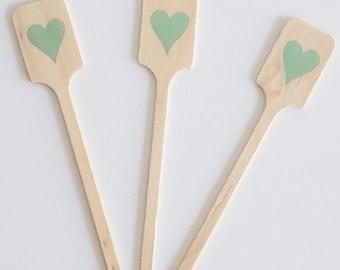 Heart Foil Stamped Wood Drink Stirrers