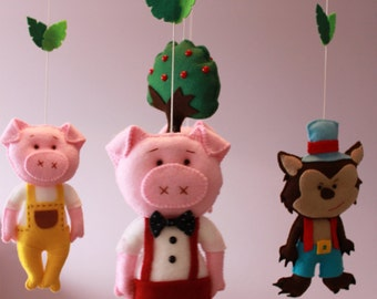 Three Little Pigs and Bad Wolf Baby Mobile, Crib Mobile,  Nursery Mobile, Ready to Ship, Kids, Gift, Felt Mobile, Unique