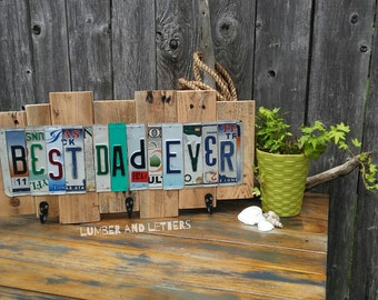 Best Dad Ever Sign - License Plate Signs for Dad - Custom License Plate Sign Made with Reclaimed Wood