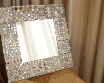 Large Mosaic Mirror (cream/white)